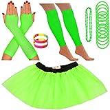 Redstar Fancy Dress - Tutu/guêtres/Mitaines résille/Collier de Perles/Bracelets en Caoutchouc/Bracelets Fluo - Vert - 36-40