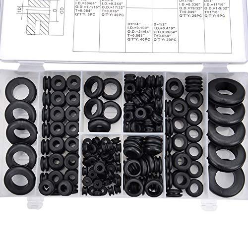 MEESOGA Gummitülle Gummi Unterlegscheiben - 180Pack O Ringe Sortiment Kabeltülle Set aus NBR-Gummi, Gummi Dichtungsringe mit 8 Verschiedene Größen in Sortimentsbox (Schwarz)