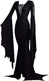 Women's Morticia Addams Floor Dress Costume Adult Women Gothic Witch Vintage Dress