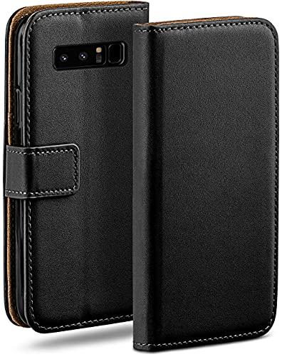 moex Klapphülle kompatibel mit Samsung Galaxy Note8 Hülle klappbar, Handyhülle mit Kartenfach, 360 Grad Flip Hülle, Vegan Leder Handytasche, Schwarz