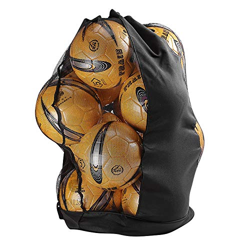QCHOMEE Durable Sac à Ballon Sacoche en Maille Filet Grand Sac Transport pour Basket-Ball Volley-Ball Football Sac Bandoulière Rangement Equipements Imperméable avec Cordon Serrage pour 10-15 Balles