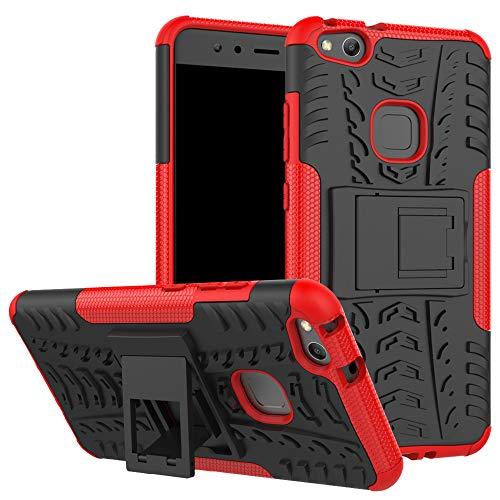 LiuShan Huawei P10 Lite Funda, Heavy Duty Silicona Híbrida Rugged Armor Soporte Cáscara de Cubierta Protectora de Doble Capa Caso para Huawei P10 Lite Smartphone(con 4 en 1 Regalo empaquetado),Rojo