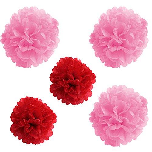 TRIXES Ensemble de 5 Tissus de Soie Rose et Rouge 3D Décorations Pom Pom à Suspendre