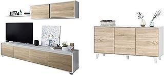 Habitdesign 0F6663A - Mueble de salón Moderno modulos Comedor Alida + Aparador Buffet contrachapada Blanco/Madera 54 c...