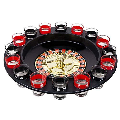 Boland 30850 - Trinkspiel Roulette Casino, Durchmesser 30 cm, 16 Schnapsgläser und 2 Kugeln, Party, Spaß, Trinken, Geburtstag