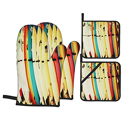 Conjuntos de Ropa de Cama Estampados con Tablas de Surf Retro,Juegos de Manoplas para Horno y Porta Ollas,4Pcs Impermeable Guantes Almohadillas para Cocina Cocinar Hornear Barbacoa
