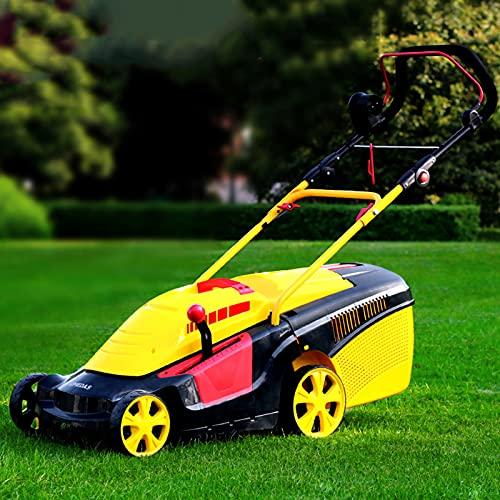 BKWJ Cortacésped eléctrico con Cable, cortacésped de Empuje con Motor sin escobillas, Bolsa recolectora de césped de 43 l, Ajuste de 6 Posiciones, barredora de césped de Mano,1800W+20m Wire