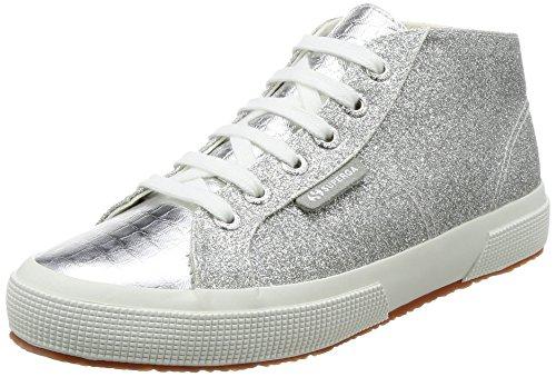 Superga Mid Top Sneaker glitzernde Damen Freizeit-Schuhe ohne Schnürung Skater-Schuhe Turn-Schuhe Silber, Größe:41