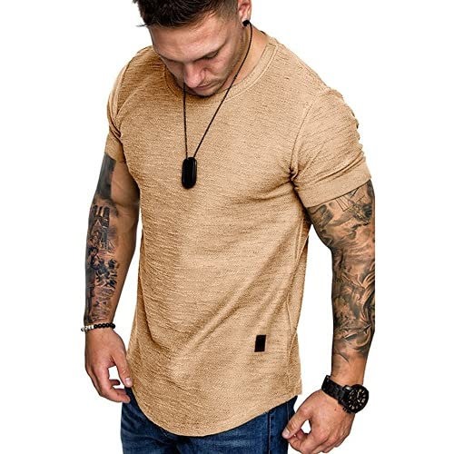 ABUCIYO Camiseta para Hombres Slim Fit O-Cuello de Manga Corta Músculo Fitness Casual Hip Hop Top Fashion Basic Camiseta básica (Khaki,X-Large)
