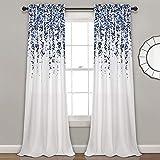 Lush Decor Weeping Flowers Curtains Navy and Blue Room Darkening Window Panel Set (Pair), 84' x 52'