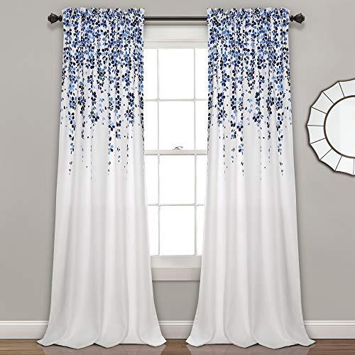 "Lush Decor Weeping Flowers Curtains Navy and Blue Room Darkening Window Panel Set (Pair), 84"" x 52"""