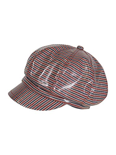 LOEVENICH modische Pepita Damenkappe aus Lack, Farbe: Marine/rot