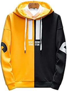 Sweatshirt Autumn Men's Contrast Stitching Hooded Sweatshirt, Couple Hooded Jacket Student Pullover (Color : Yellow, Size : L)