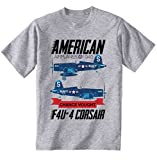 teesquare1st Men's F4U-4 Corsair American Plane Grey T-Shirt Size Medium