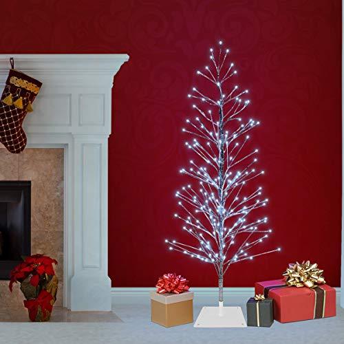 Alpine Corporation BYS144WT Cool White LED Lights Alpine Festive Silver Christmas Tree