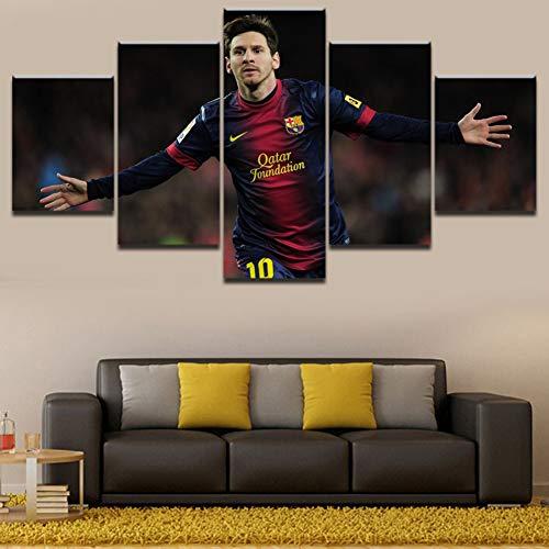 XLST Segeltuch Gedruckt Poster 5 Stücke Messi Fußball Sport Wandkunst Bild Modern Kunstwerk Malerei Zuhause Dekorativ,B,20X35X220X45X220X55X1