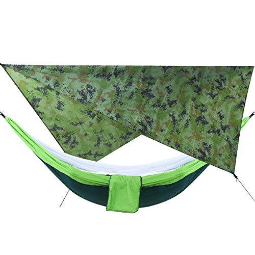 ANDREW Camouflage Rain Fly Tarp and Encampment Hammock with Mosquito Net Portable Hammock Canopy 210T Plaid Fabric PU Raincoat 2000 Sun Shade Tent Awning for 2 Person Head Hammock