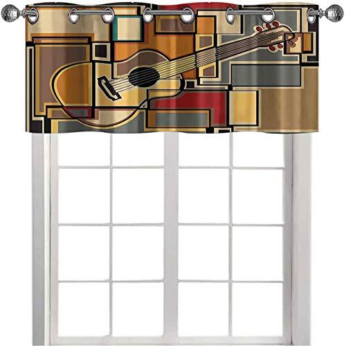 Cortinas térmicas con cenefas con aislamiento térmico Funky Fractal Geométrico Cuadrado Fondo con Guitarra Acústica Figura Arte 106.7 cm x 45.7 cm Cenefa cortina Panel para decoración de cocina Multi