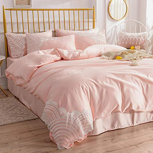 geek cook Homehold Sheets Set,Quilt four-piece girl princess style summer ice silk washed silk girl heart quilt cover bedding-Mingyu_2.0m (2.2X2.4m quilt core) 4pc set