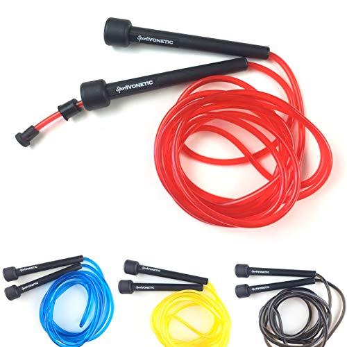 Sportivonetic Springseil für Erwachsene & Kinder – Verstellbare Größe – Speed Rope (Rot)