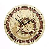yaoyao Reloj de Pared Praga Astronómico en Madera República Checa Astronomía Medieval Arte Astrología Obra de Arte Decorativa Praga Regalo para Cualquier habitación en el hogar Cocina Escuela