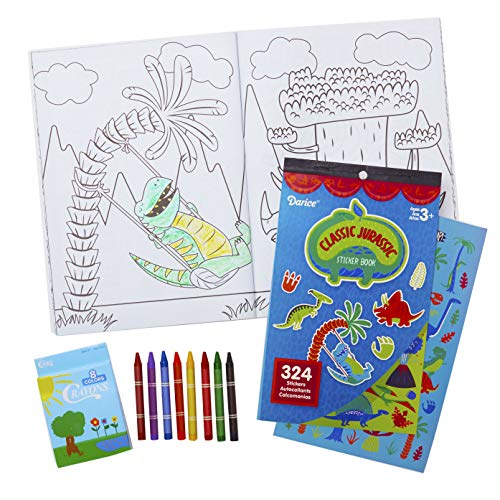 All-In-One Travel Kit for Kids. 32 Pg Dinosaur Coloring and Activity Book with 324 Stickers and 8 Crayons. Great Jurassic Dino Set for Car and Plane Rides or Road Trips for Children, Boys or Girls.