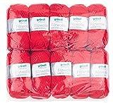 Gründl Uni, Vorteilspack: 10 Knäuel à 50 g Filzwolle, Wolle, signalrot, 31 x 32 x 7.5 cm