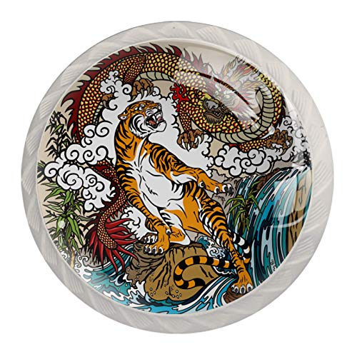 4 Pack Round Glass Drawer Knobs Crystal Glass 30mm Cabinet Knobs Pull Handles,Chinese Dragon Tiger