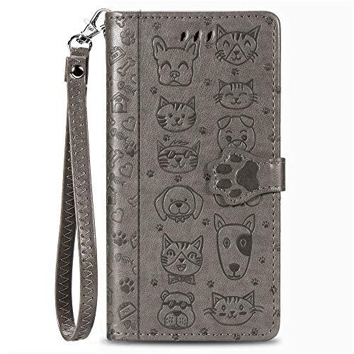 Capa carteira XYX para Xiaomi Mi CC9/ Mi A3 Lite/Mi 9 Lite, Capa carteira de couro PU com estampa de gato e cachorro em relevo para cartões de crédito, slot à prova de choque, flip magnético com alça de pulso, cinza