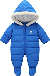 SanReach Baby Winter Fur Trim Hooded Down Snowsuit Footie Jumpsuit Romper Puffer Jacket