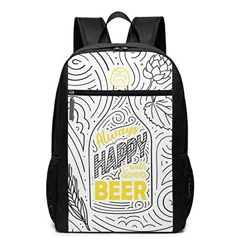 OMNVEQ Mochila Escolares Letras de Cerveza Siempre Feliz Bien, Mochila Tipo Casual para Niñas Niños Hombre Mujer Mochila para Ordenador Portátil Viaje