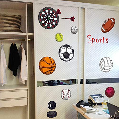 Jungen Sportball Fußball Basketball Volleyball Schlafsaal Wandaufkleber Dartscheibe Tennis Klassenzimmer Layout Dekoration Aufkleber 102 * 62Cm