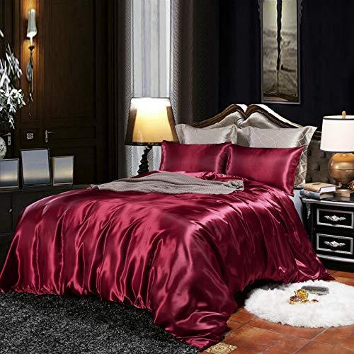 CoutureBridal Housse de Couette 220x240cm + 2 taie d'oreiller 65x65cm vin Rouge Parures de lit Ado Adulte 2 Personne Satin la Soie Lisse Linge de lit