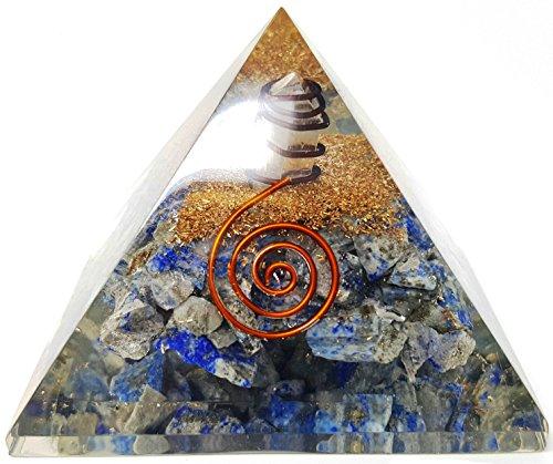 Kit de pirámide de orgón de cristal de lapislázuli: incluye 4 puntos de energía de cristal de cuarzo y protección EMF para meditación, yoga y generador de energía