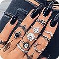 10pcs Vintage Women Mid Ring Set Crown Rhinestone Joint Knuckle Nail Ring Set