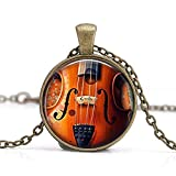 Violine Handcrafted Jewelry Anhänger Halskette, Geiger, Halskette, Orchester Band Musiker Halskette