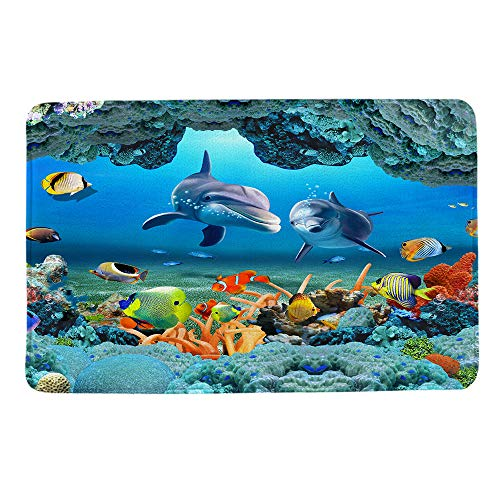 HIYOO Ocean Seabed Coral Fish Dolphins Theme Design Non Slip Bathmat, Doormat, Bathroom Bath Floor Kitchen Area Door Entrance Rugs Mat, Super Soft Flannel Fabric with Inner Thick Sponge 16