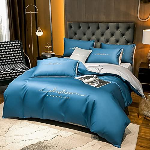 funda de edredón 180,Conjunto de colchas de lino de cama de cuatro conjuntos, colores sólidos europeos lavado de agua seda cómoda reversible de la cama de respiradero para padres regalos familiares-B