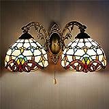 FHKBB Apliques de Pared con Pantalla de vitrales 2 Luces Lámparas de Pared para...