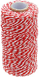 100 M/328 Feet Durable Cotton Baker's Twine String,Heavy Duty Packing Bakers Twine for Gardening Applications(Red and White)