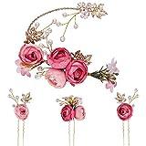 4 Piezas de Flor en Forma de U con Flor Rosa,kit de Accesorios para el Cabello Nupcial,...