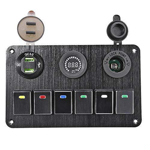 LICHONGUI 6 Gang Switch Panel 2 USB Interior Control Car Boat Marine RV Rocker Breaker 12V