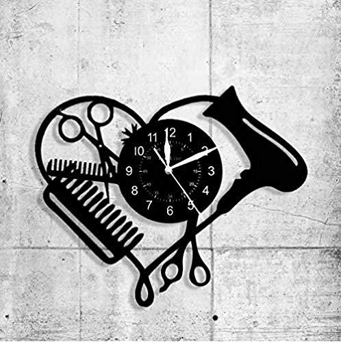 TPFEI Vinile Record Orologio da Parete Capelli Salone di Bellezza Negozio Business Logo Orologio da Parete cassettiera Moda Parrucchiere Forbici Decorazione della casa