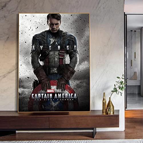 WQHLSH Película Avengers Super Hero Capitán América Lienzo Pintura Arte de la Pared Nordic Pósters e Impresiones Fondos for la decoración de la Sala de Estar 20x28 Inch Sin Marco