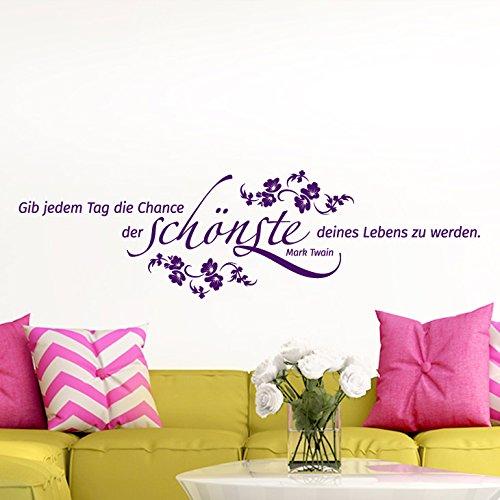 Grandora W5001 Wandtattoo Gib jedem Tag die Chance. Mark Twain Hibiskus Blumenranke schwarz (BxH) 80 x 22 cm