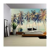 wall26 - Vintage Tropical Palm Trees on a Beach - Removable Wall Mural   Self-Adhesive Large Wallpaper - 100x144 inches