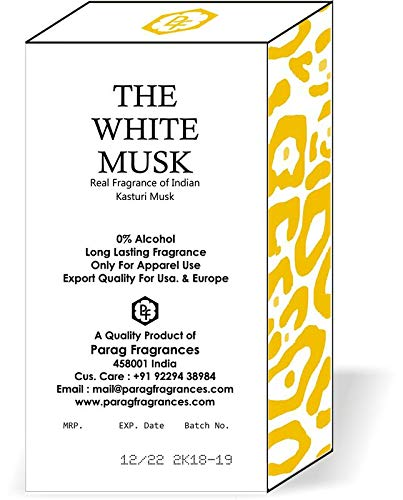 Parag Fragrances White Musk Attar Roll-on 6ml (Long Lasting/Alcohol Free Attar)