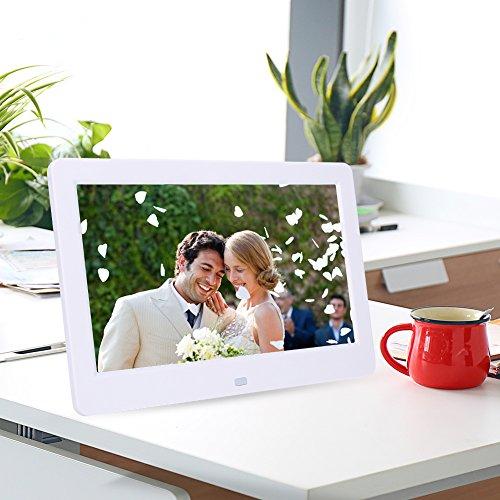 Xinwoer 【𝐍𝐞𝒘 𝐘𝐞𝐚𝐫 𝐃𝐞𝐚𝐥𝐬】 1024X600 Hochauflösender digitaler Bilderrahmen 10-Zoll-Bildschirm Digitaler Fotorahmen Uhr Musikvideoplayer mit Fernbedienung(Weiß 2)