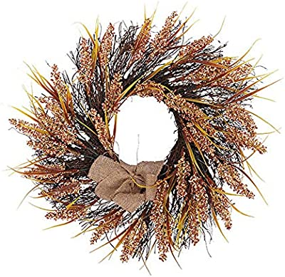 Nuxn 18inch Front Door Fall Wreath Autumn Wheat Wreath Artificial Fall Harvest Thanksgiving Wreath on Twig Base for Home Office Window Decor