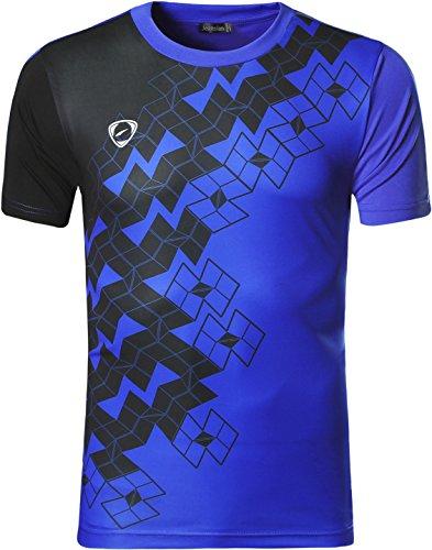 jeansian Herren Sportswear Quick Dry Short Sleeve Men's Tee T-Shirt Tops Tshirt LSL111 Blue M